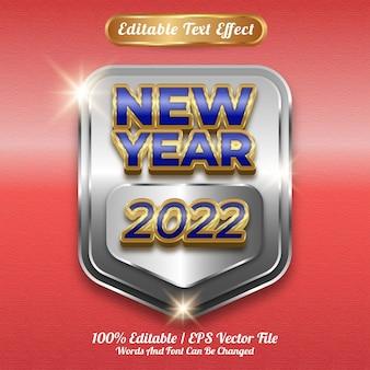 Bewerkbaar teksteffect nieuwjaar 2022 gouden stijl