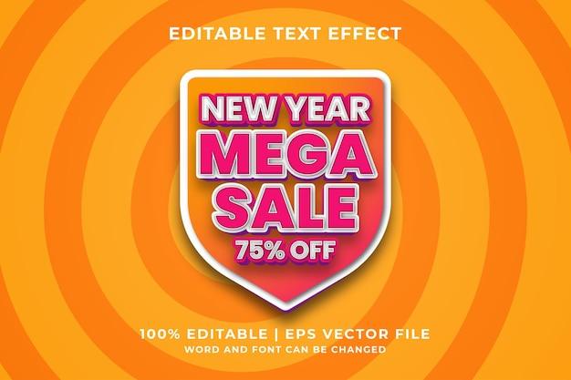 Bewerkbaar teksteffect - nieuwjaar mega sale 3d-sjabloonstijl premium vector