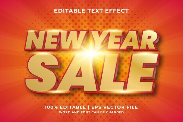 Bewerkbaar teksteffect - nieuwjaarsverkoop sjabloonstijl premium vector
