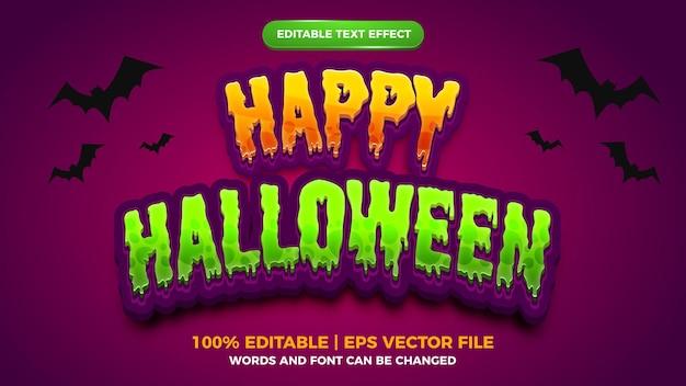 Bewerkbaar teksteffect - oranje groene vrolijke halloween strip cartoon spelsjabloon stijl