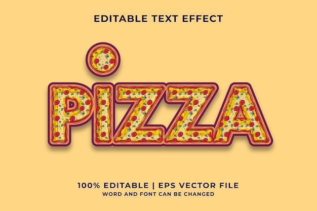 Bewerkbaar teksteffect - pizza cartoon sjabloonstijl premium vector