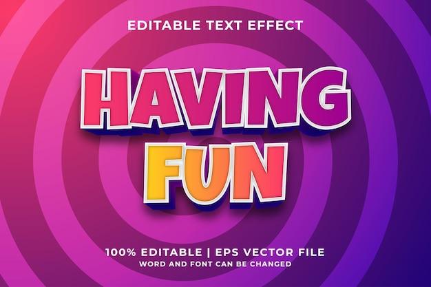 Bewerkbaar teksteffect - plezier hebben in cartoon-sjabloonstijl premium vector