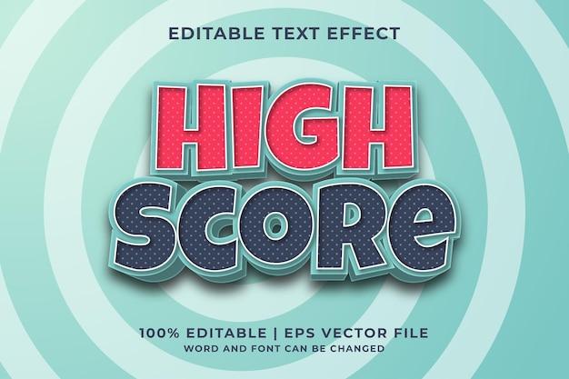 Bewerkbaar teksteffect - premium-vector in hoge score-sjabloonstijl