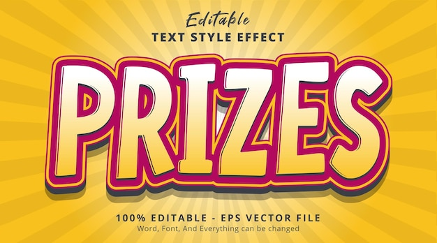 Bewerkbaar teksteffect, prijzentekst met mooie kleurencombinatiestijl
