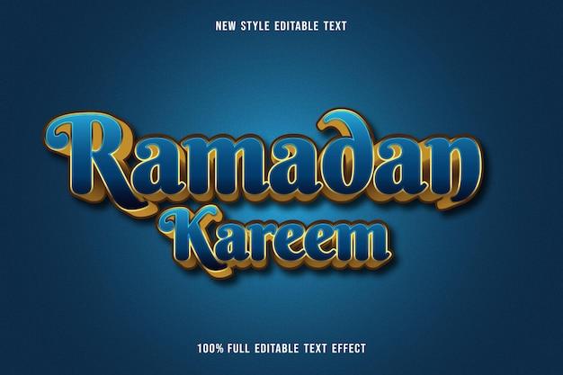 Bewerkbaar teksteffect ramadan kareem kleur blauw en goud