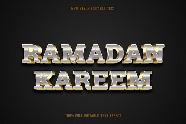 Bewerkbaar teksteffect ramadan kareem kleur goud