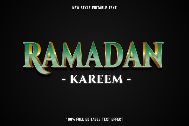 Bewerkbaar teksteffect ramadan kareem kleur groen en wit