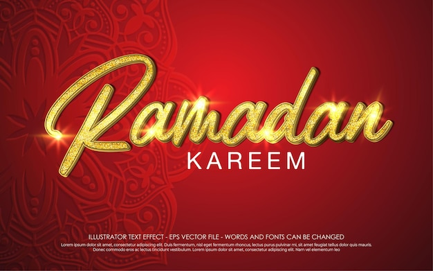 Bewerkbaar teksteffect, ramadan kareem-stijl
