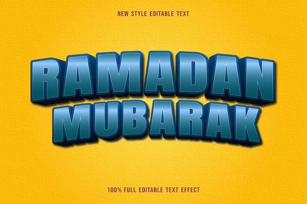 Bewerkbaar teksteffect ramadan mubarak kleur blauw en zwart