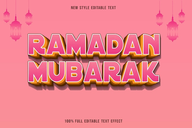 Bewerkbaar teksteffect ramadan mubarak kleur roze en geel