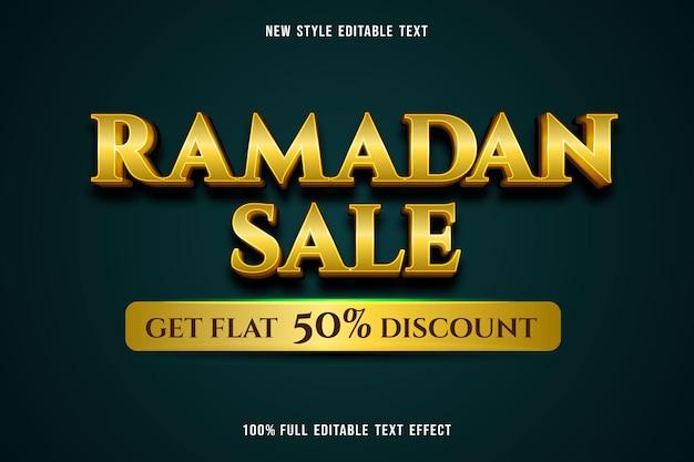 Bewerkbaar teksteffect ramadan verkoopkleur geel en groen