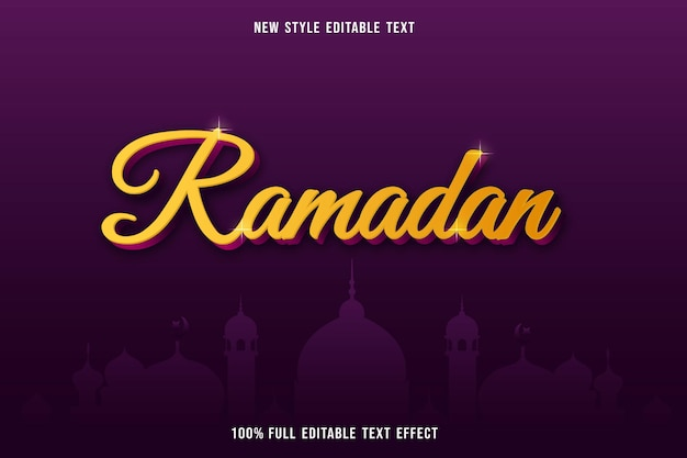 Bewerkbaar teksteffect ramadankleur geel en paars