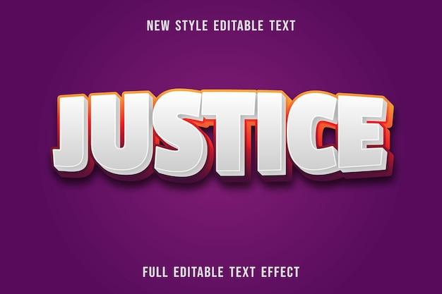 Bewerkbaar teksteffect rechtvaardigheidskleur wit en oranje paars