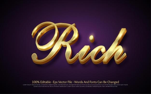 Bewerkbaar teksteffect rich gold-stijl