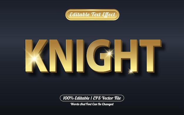 Bewerkbaar teksteffect ridder gouden stijl