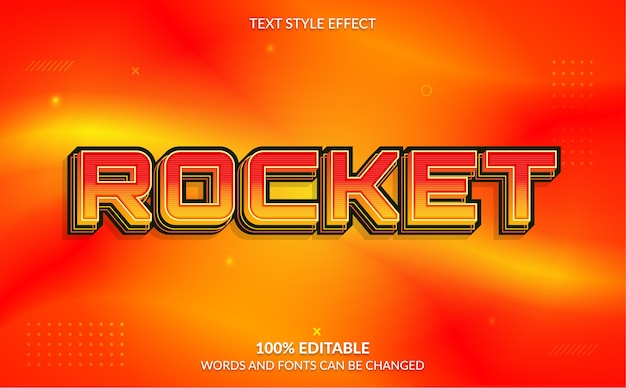 Bewerkbaar teksteffect rocket text style