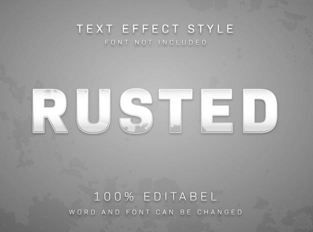Bewerkbaar teksteffect roestig geschild zilvermetaaltextuurtype stijl