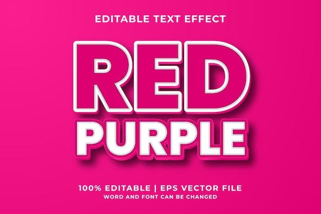 Bewerkbaar teksteffect - rood paars 3d vetgedrukte sjabloonstijl premium vector
