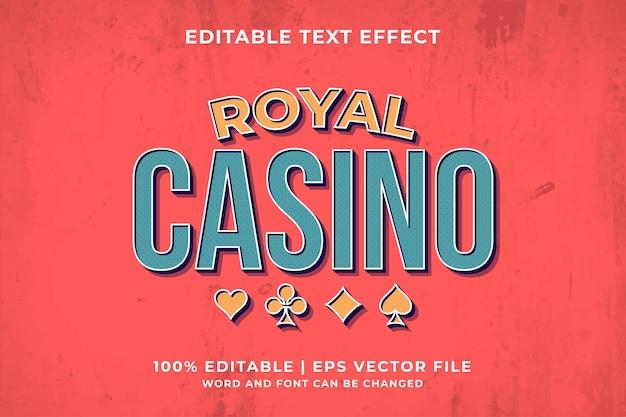 Bewerkbaar teksteffect - royal casino sjabloon retro stijl premium vector