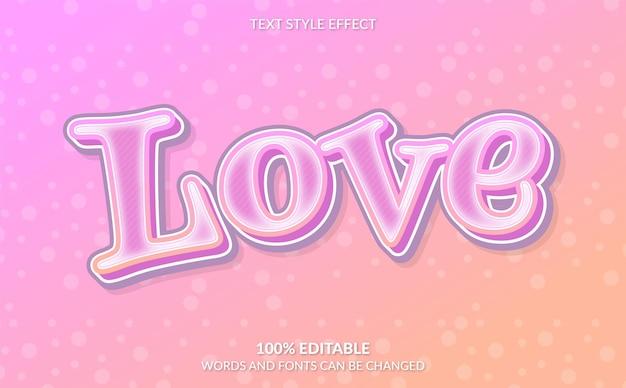 Bewerkbaar teksteffect roze liefdestekststijl