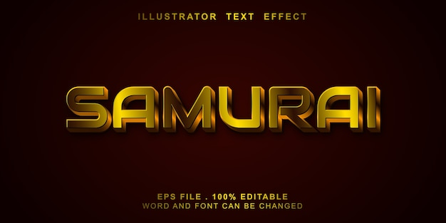Bewerkbaar teksteffect samurai