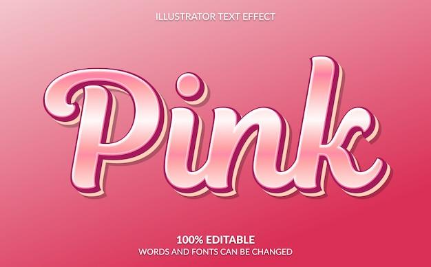 Bewerkbaar teksteffect, schattige metallic roze tekststijl