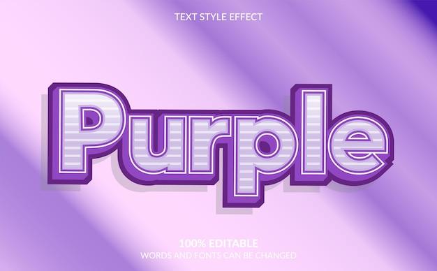 Bewerkbaar teksteffect, schattige paarse tekststijl