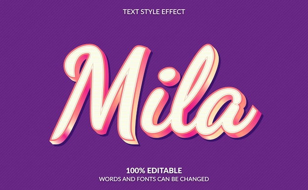 Bewerkbaar teksteffect, schattige roze perzikkleurige tekststijl