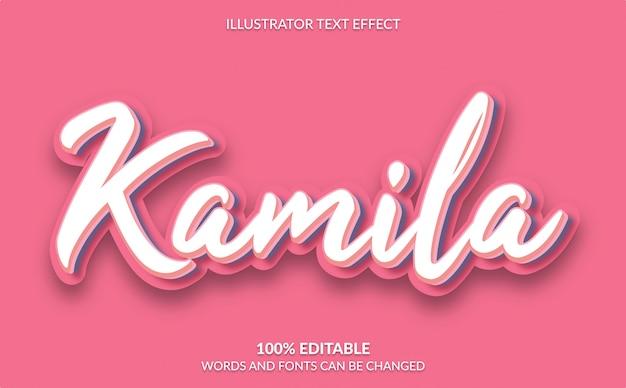Bewerkbaar teksteffect, schattige roze tekststijl