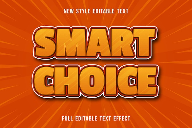 Bewerkbaar teksteffect slimme keuze kleur geel en oranje