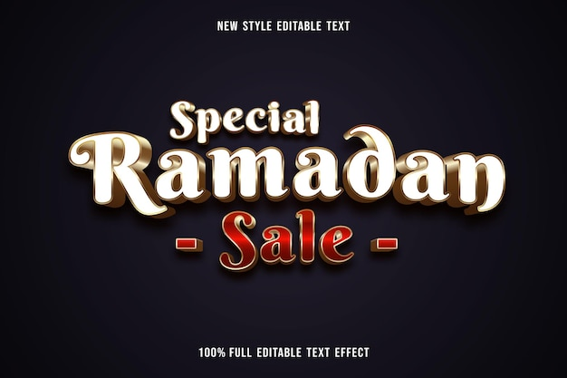 Bewerkbaar teksteffect speciale ramadan-verkoopkleur wit, rood en goud