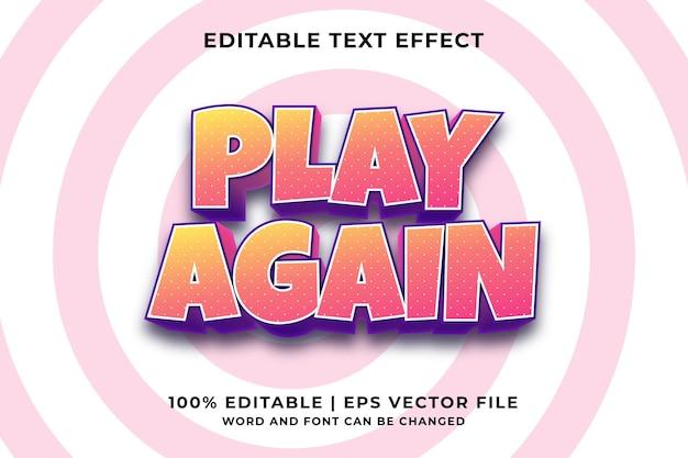 Bewerkbaar teksteffect - speel opnieuw cartoon sjabloonstijl premium vector