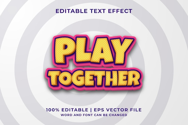 Bewerkbaar teksteffect - speel samen grappige stijlsjabloon premium vector