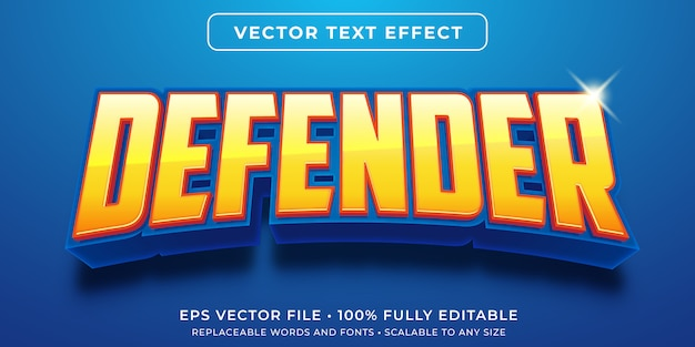 Bewerkbaar teksteffect - spelstijl van heldverdediger