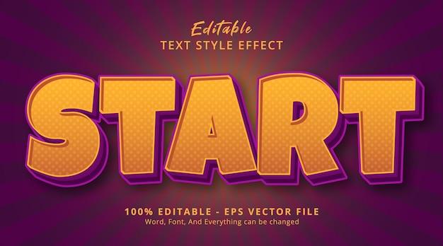 Bewerkbaar teksteffect, start tekst op paarse en gele kleurstijl