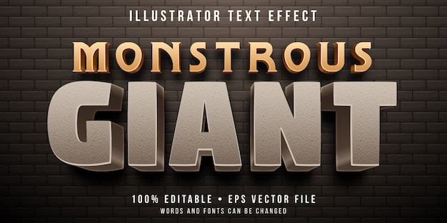 Bewerkbaar teksteffect - steen gigantische stijl