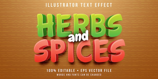 Bewerkbaar teksteffect - stijl van kruiden en specerijen