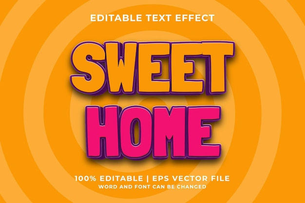 Bewerkbaar teksteffect - sweet home schattige 3d-sjabloonstijl premium vector