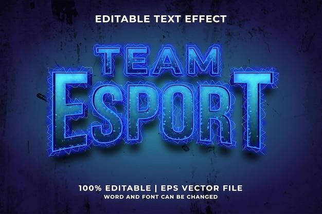 Bewerkbaar teksteffect - team e-sport sjabloonstijl premium vector