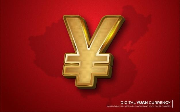 Bewerkbaar teksteffect, teken pictogram yuan stijlillustraties