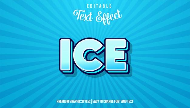 Bewerkbaar teksteffect, tekenstijl ijsblauw cartoon