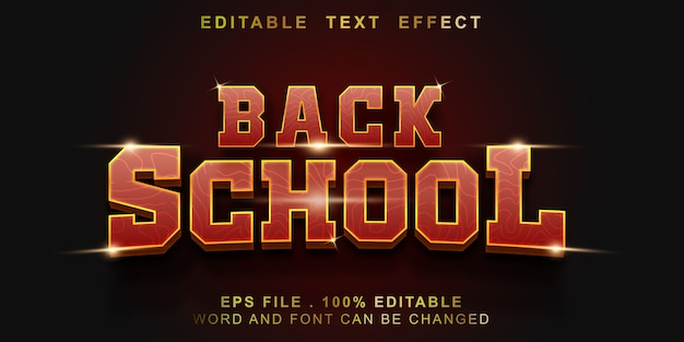Bewerkbaar teksteffect terug naar school