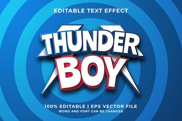 Bewerkbaar teksteffect - thunder boy-sjabloonstijl premium vector