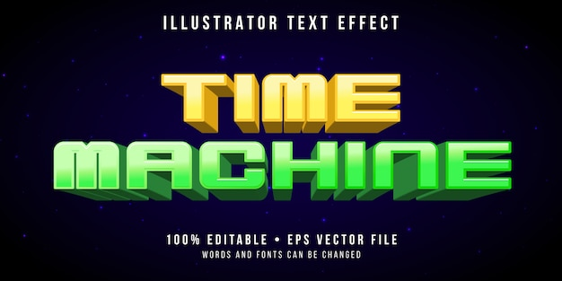 Bewerkbaar teksteffect - tijdmachine-stijl