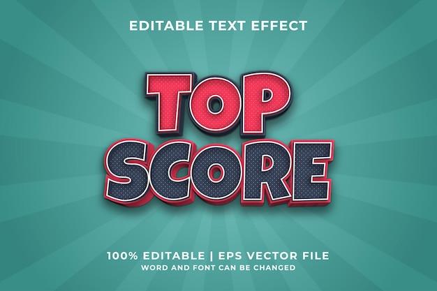 Bewerkbaar teksteffect - topscore-stijlsjabloon premium vector