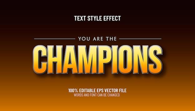Bewerkbaar teksteffect, u bent de kampioensstijl