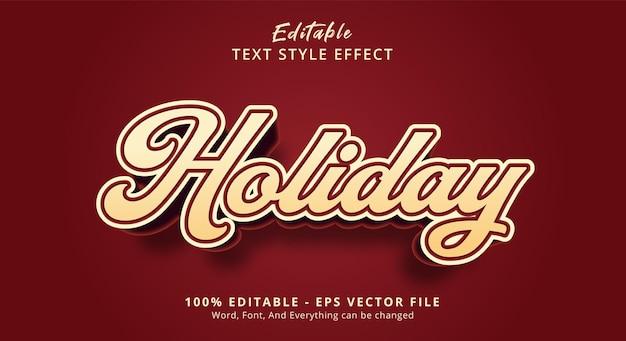 Bewerkbaar teksteffect, vakantietekst op beletteringstijleffect