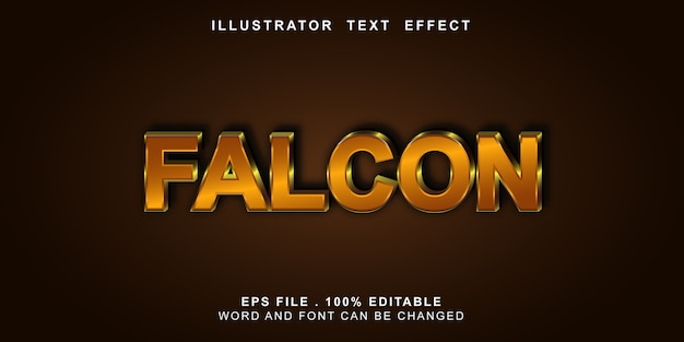 Bewerkbaar teksteffect valk