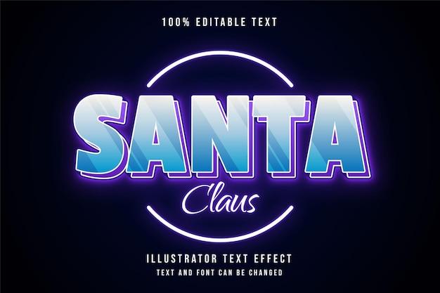 Bewerkbaar teksteffect van de kerstman met blauwe gradatie
