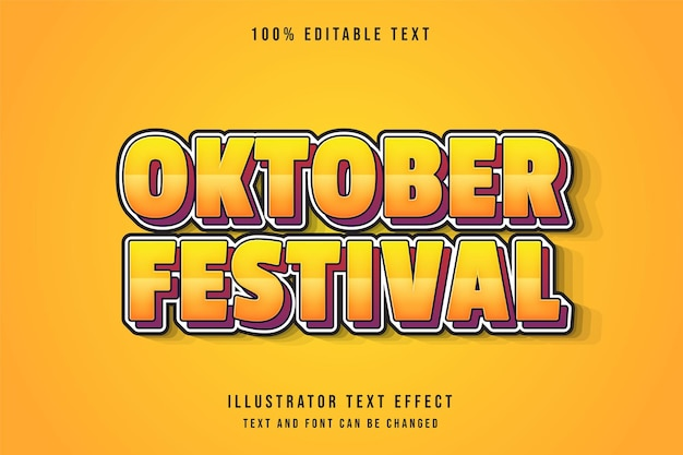 Bewerkbaar teksteffect van het oktoberfestival met gele gradatie